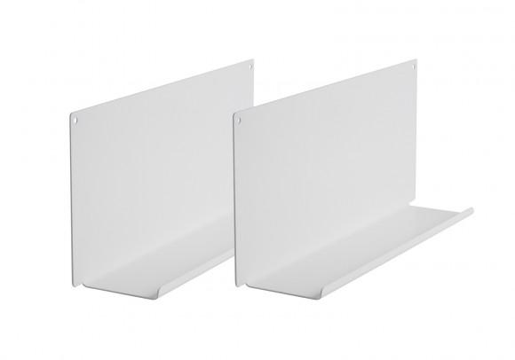 Étagère murale - Lot de 2 - 45 x 10 cm - Acier - Blanc