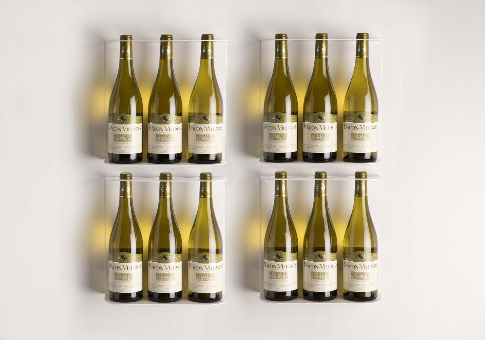 Support A Bouteille De Vin Mural découvrez en ligne Étagères porte bouteilles 28x28cm - lot de 4