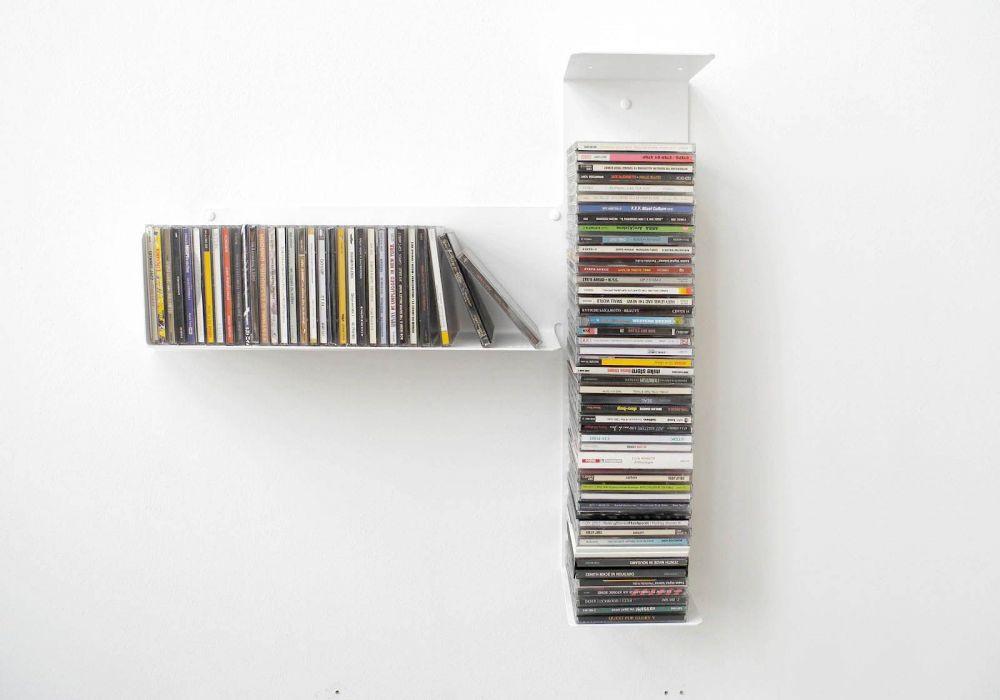 """Étagère range CD """"T"""" asymétrique GAUCHE"""