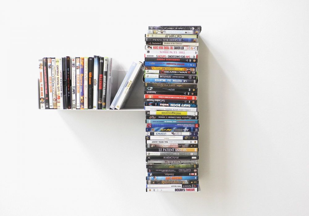 """Asymmetrisches DVD Regal """"T"""" LINKS"""