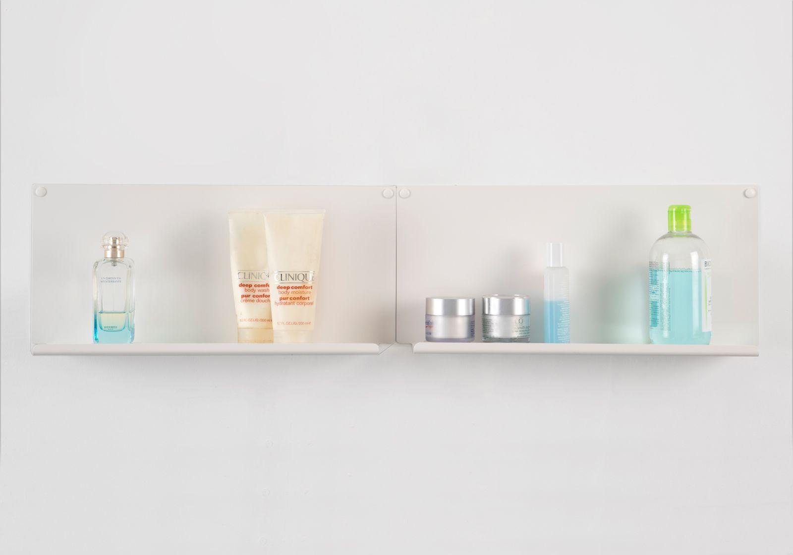 Mensole per bagno le 10 cm acciao bianco for Mensole angolari per bagno