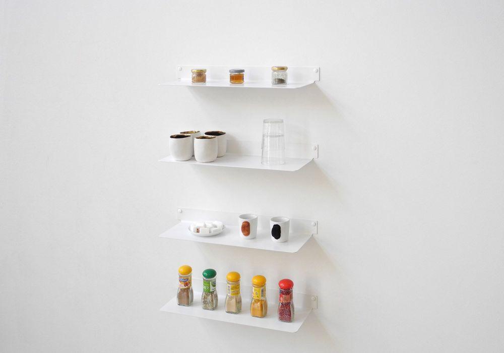 Tag re murale cuisine teeline 45 cm lot de 4 acier - Etagere pour livre de cuisine ...
