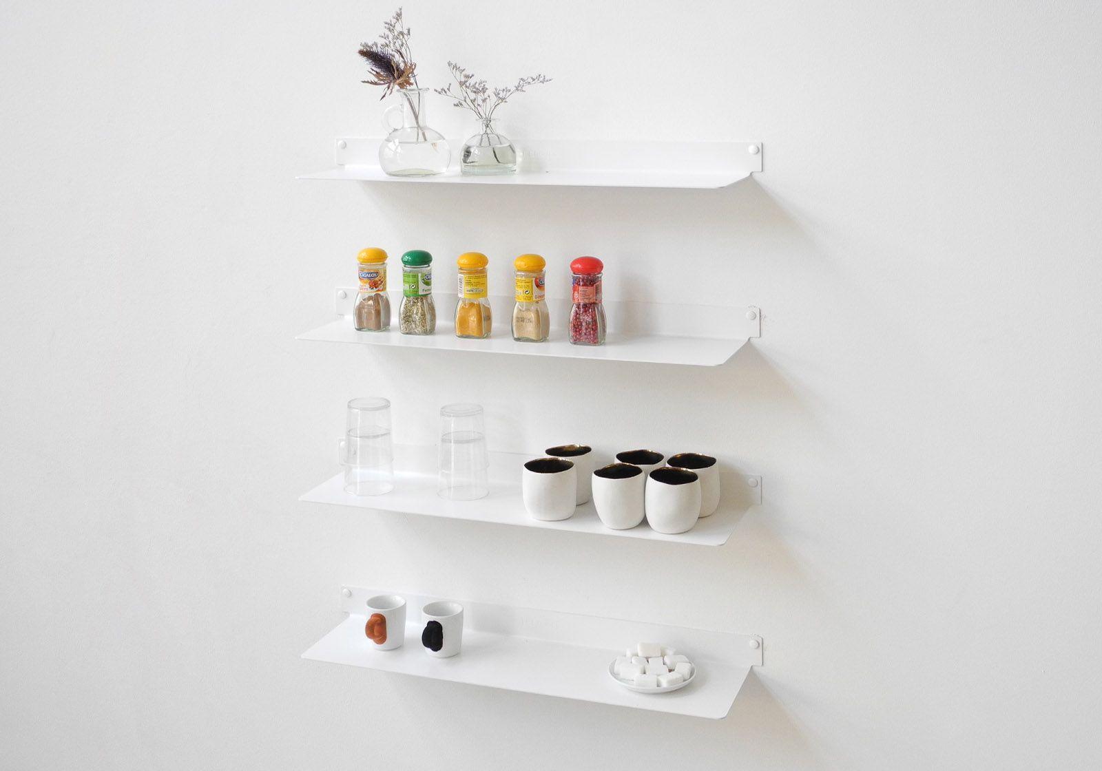 Tag re pour la cuisine teeline 60 cm lot de 2 acier for Etagere de cuisine murale