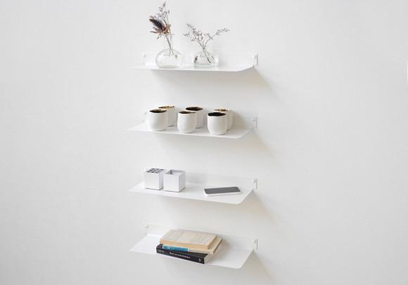 Étagère murale design - blanc, invisible et en métal L45 cm par 4
