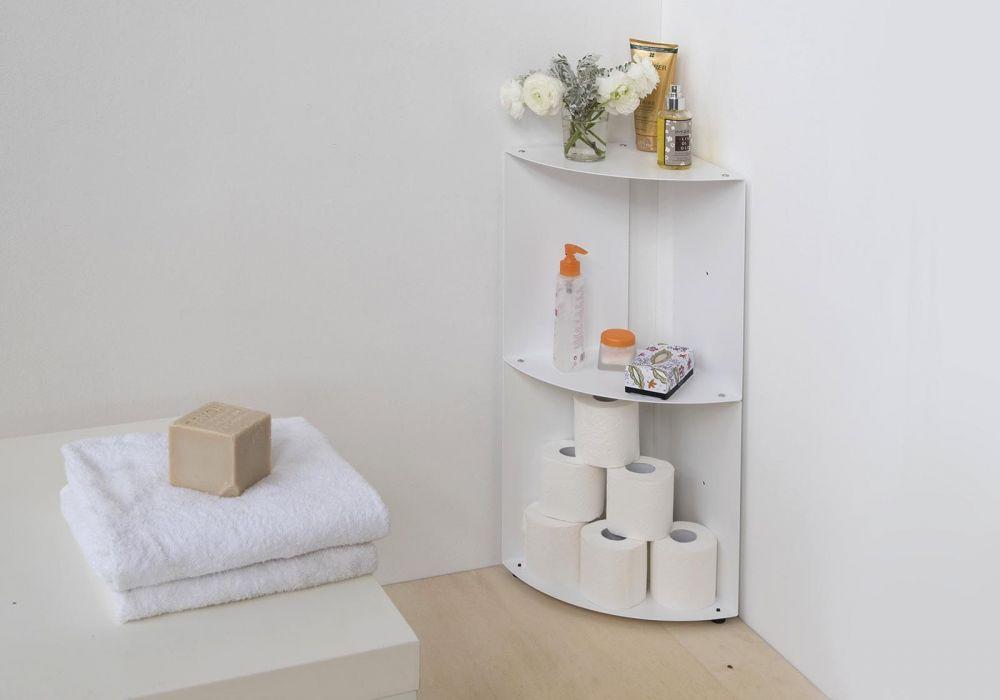 Etagère d'angle de salle de bain DANgolo en métal - 25x25x68cm