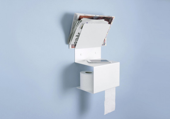 Toilet oll holder TEElette - Steel - White - 37,5x15x22cm