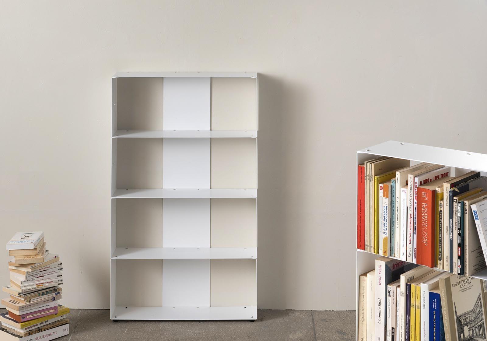 Libreria Profondità 15 Cm libreria design 60 cm - metallo bianco - 4 livelli