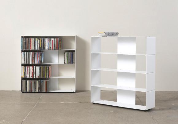 Range cd 60 cm - métal blanc - 4 niveaux