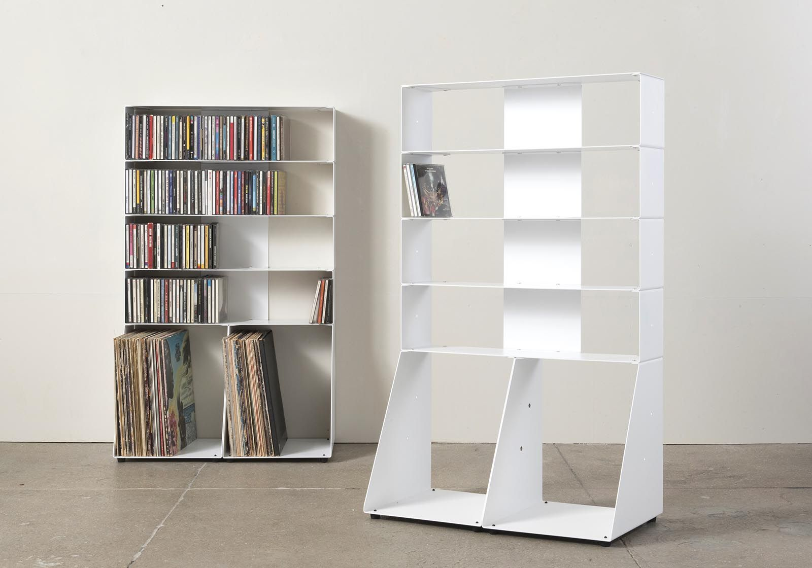 range cd et vinyle m tal blanc l60 h95 p32 cm 5 niveaux. Black Bedroom Furniture Sets. Home Design Ideas