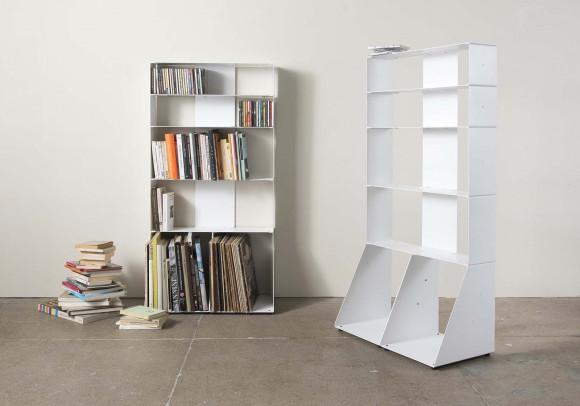 Libreria design per libri & CDs, Vinili L60 H115 P32cm - 5 livelli