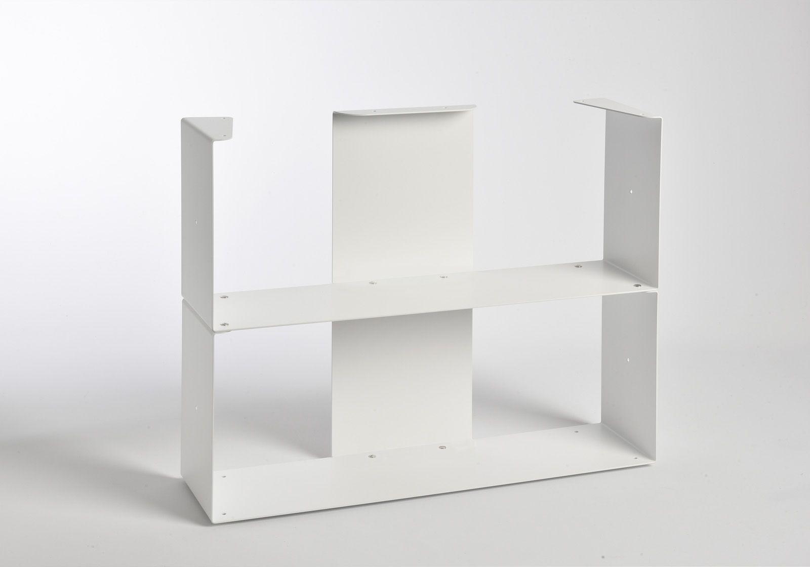 meuble biblioth que 60 cm metal blanc 6 niveaux. Black Bedroom Furniture Sets. Home Design Ideas