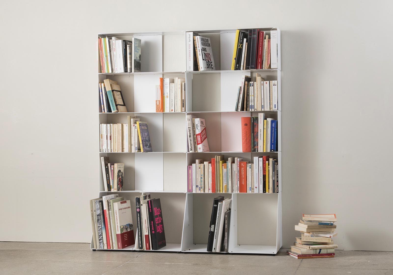 biblioth que basse 60 cm m tal blanc 3 niveaux. Black Bedroom Furniture Sets. Home Design Ideas