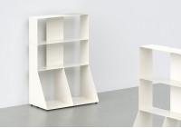 Bibliothèque basse - métal blanc L60 H85 P32 cm - 3 niveaux