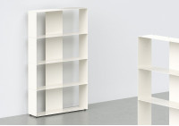 Meuble Bibliothèque - métal blanc L60 H100 P15 cm - 4 niveaux