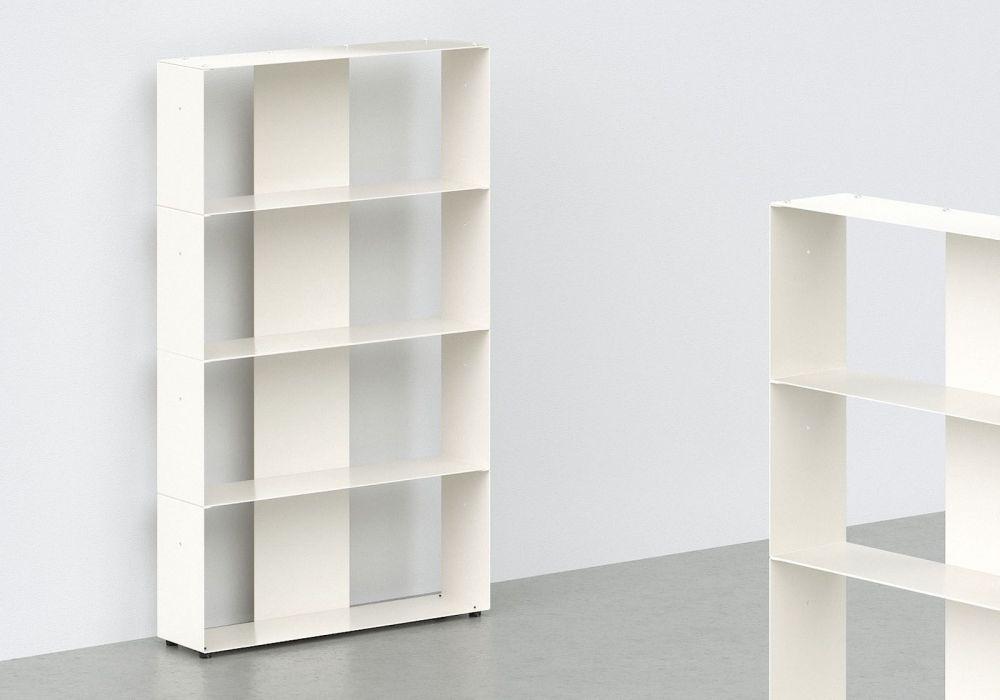 meuble bibliothque mtal blanc l60 h100 p15 cm 4 niveaux