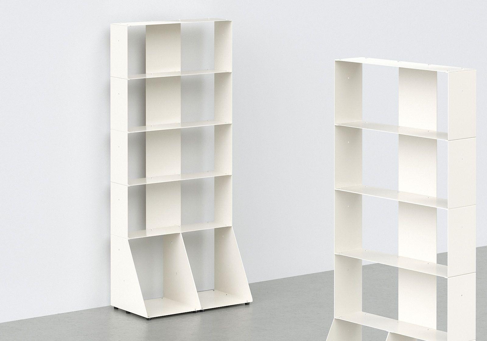 meuble biblioth que 60 cm m tal blanc 5 niveaux. Black Bedroom Furniture Sets. Home Design Ideas