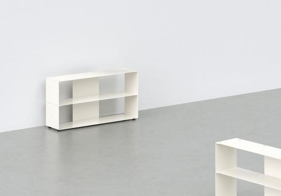 Range cd 60 cm - métal blanc - 2 niveaux