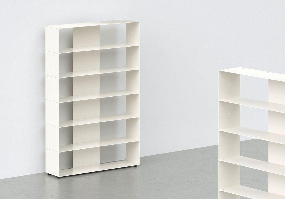 Range cd - métal blanc L60 H90 P15 cm - 6 niveaux