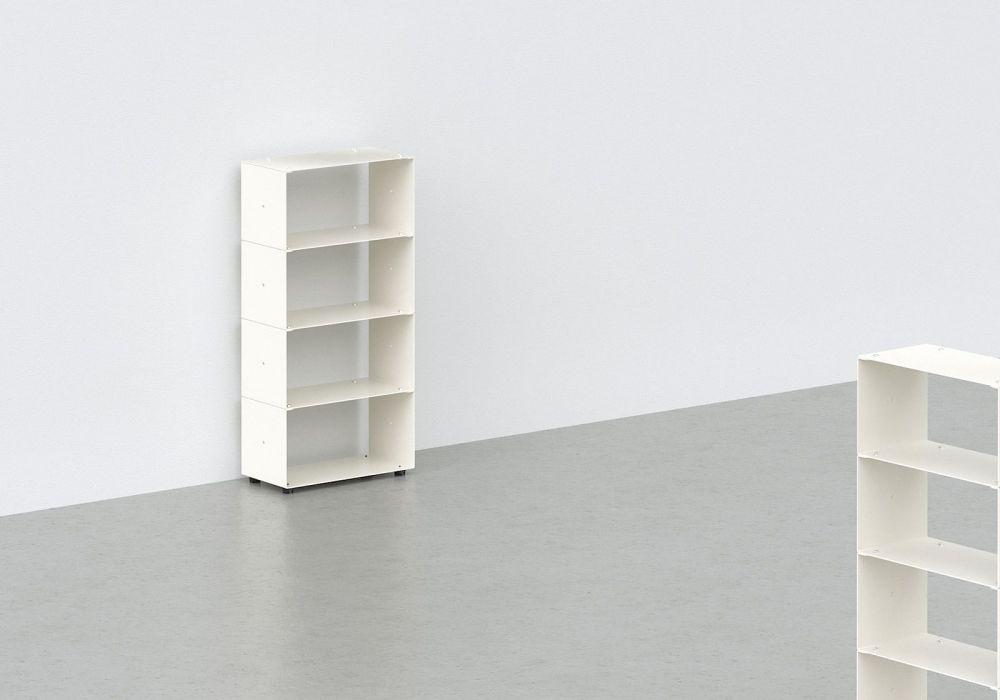 Range cd - métal blanc L30 H60 P15 cm - 4 niveaux