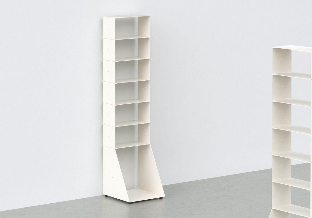 Range cd et vinyle - métal blanc L30 H125 P32 cm - 7 niveaux