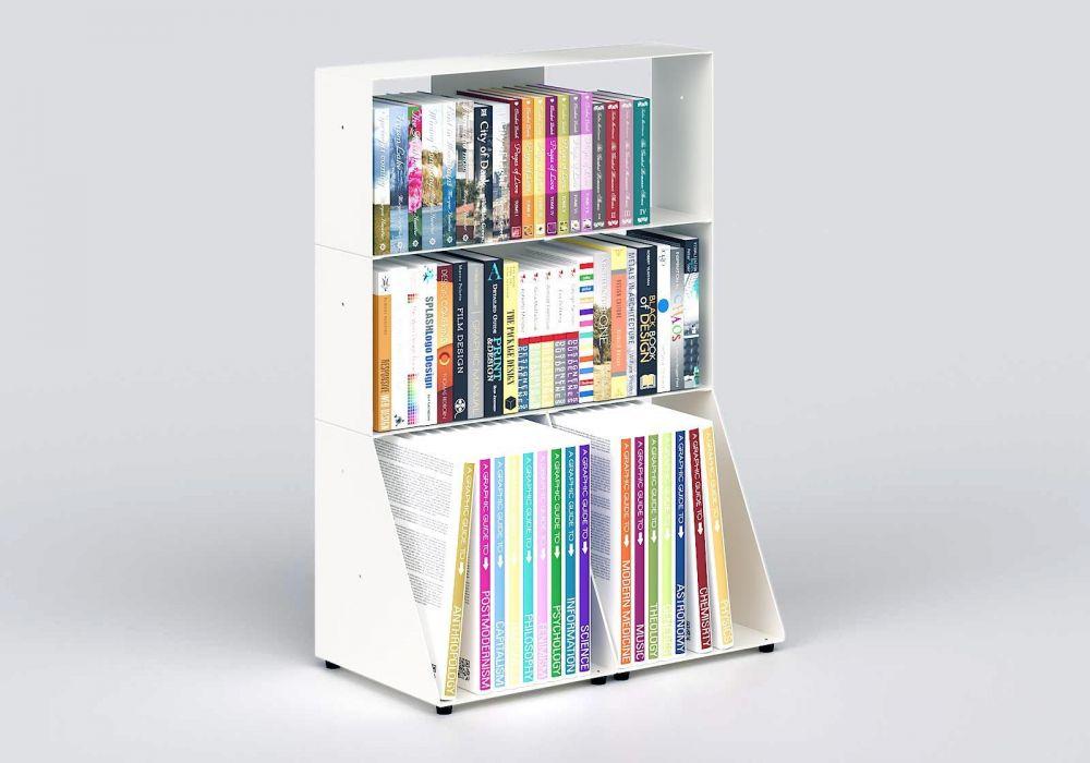 Librerias muebles 60 cm - metal blanco - 3 niveles