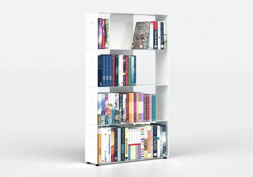 Bibliothèque blanche 60 cm - métal - 4 niveaux
