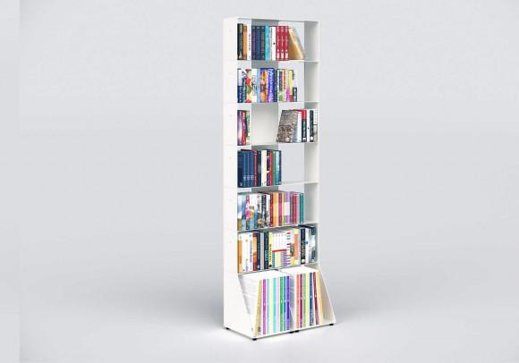 Bücherregal weiß 7 ablagen B60 H185 T15 cm
