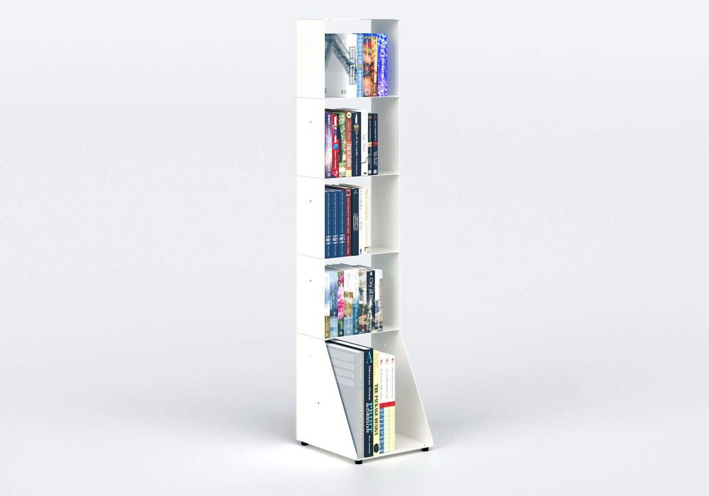 White Bookcase W30 H135 D32 cm - 5 shelves