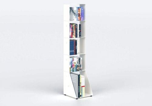 Bibliothèque blanche design 30 cm - métal - 5 niveaux