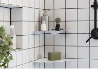 Étagère d'angle salle de bain 24 cm - Lot de 2
