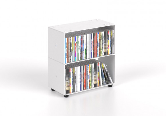 Estanteria CD 30 cm - metal blanco - 2 niveles