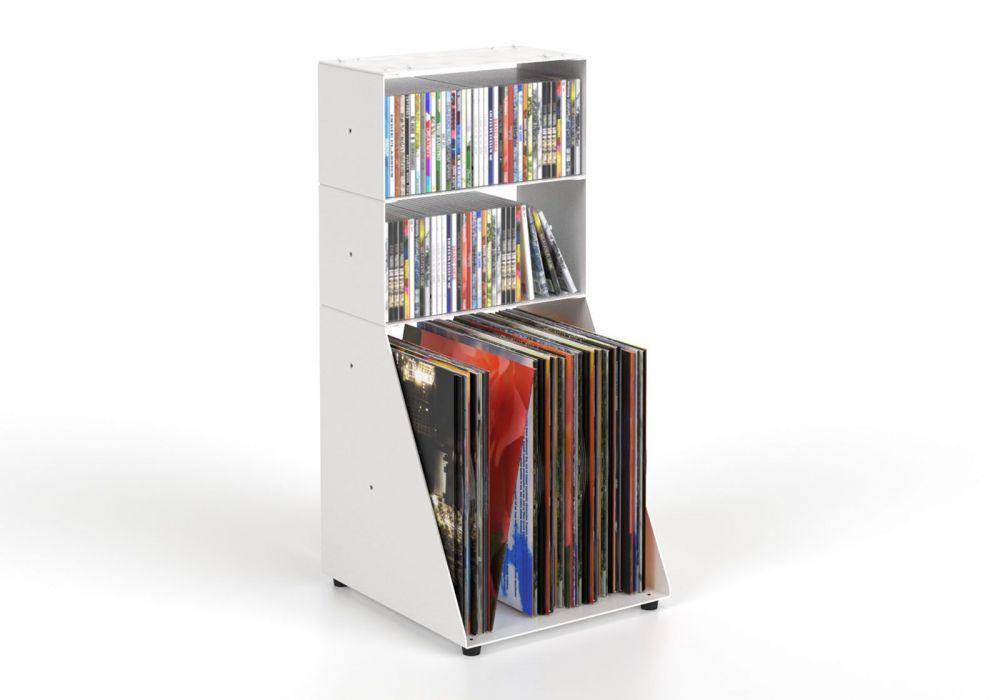 Estanteria CD y Vinilo 30 cm - metal blanco - 3 niveles