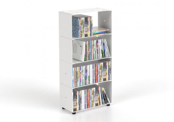 Estanteria CD 30 cm - metal blanco - 4 niveles