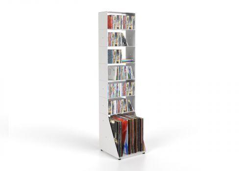 Range cd et vinyle 30 cm - métal blanc - 7 niveaux