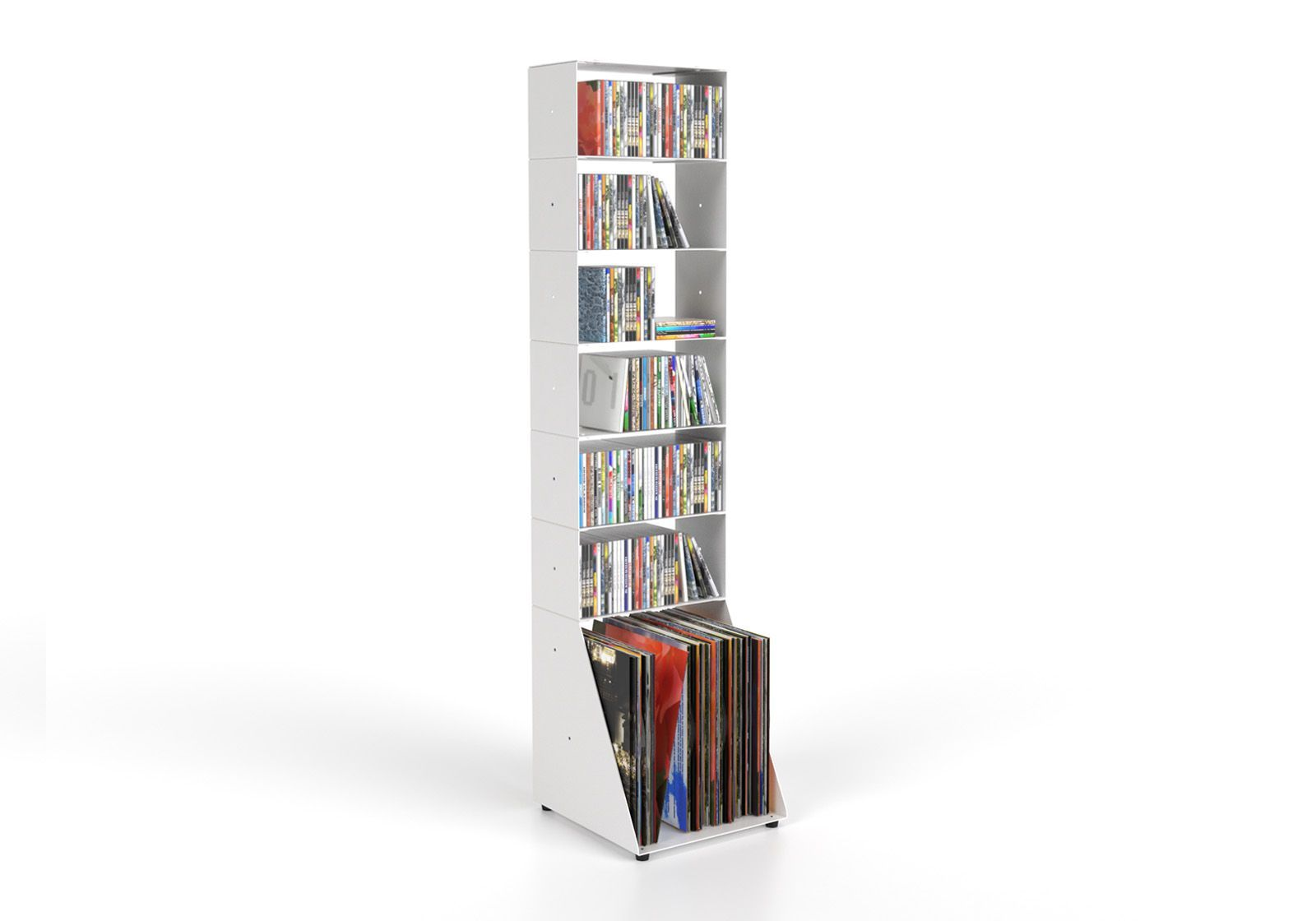 Estanteria CD y Vinilo 30 cm - metal blanco - 7 niveles