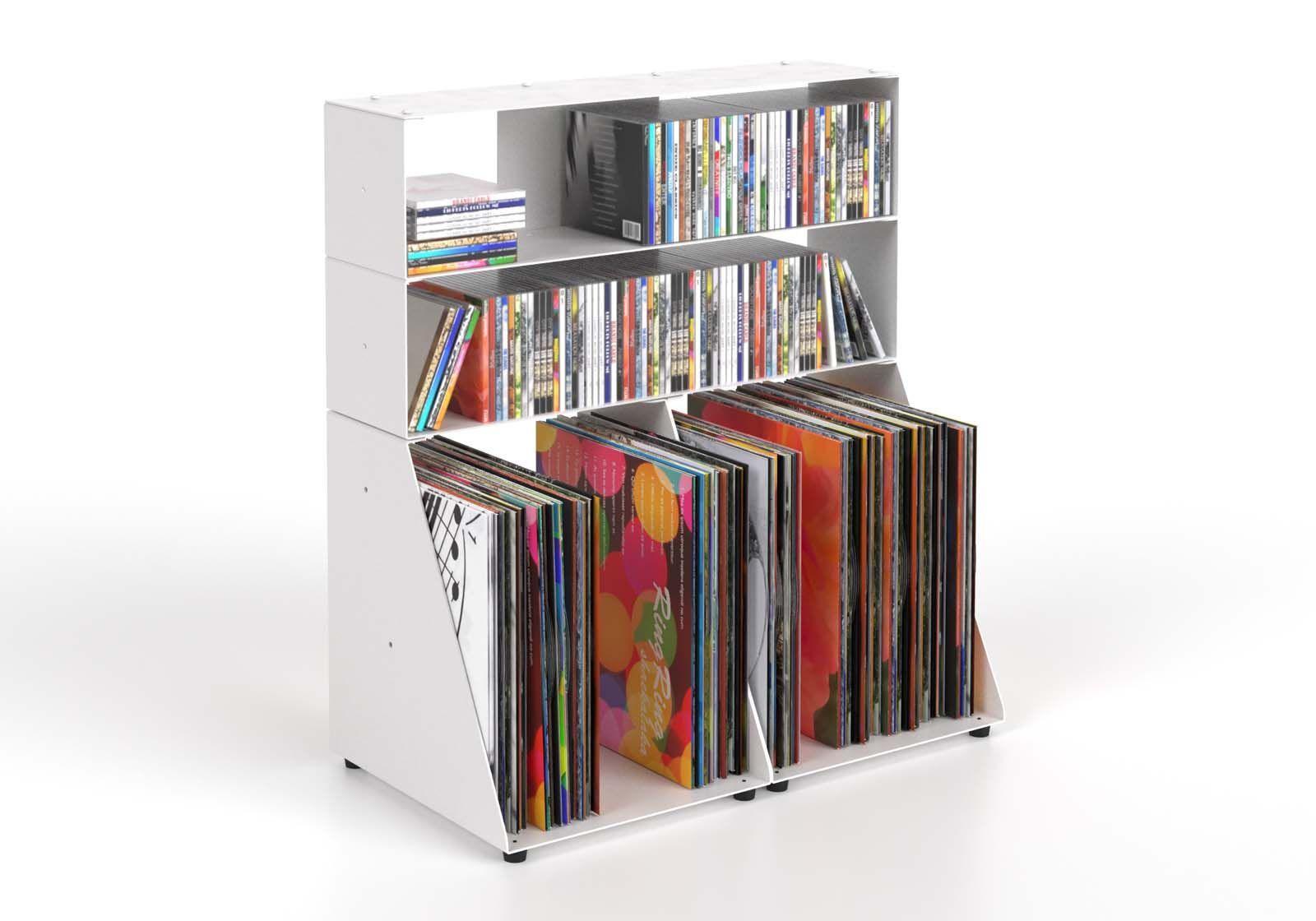 Estanteria CD y Vinilo 60 cm - metal blanco - 3 niveles