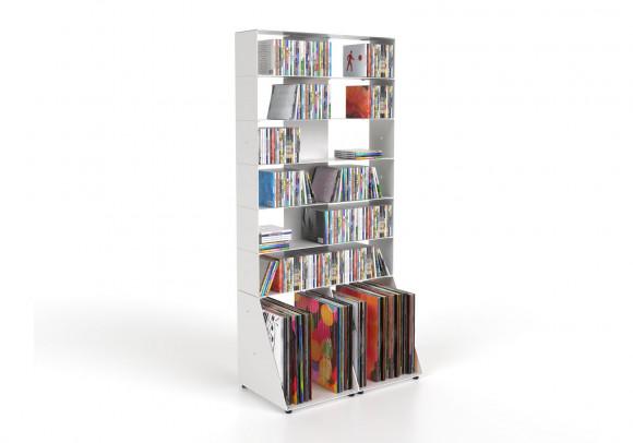 Estanteria CD y Vinilo 60 cm - metal blanco - 7 niveles