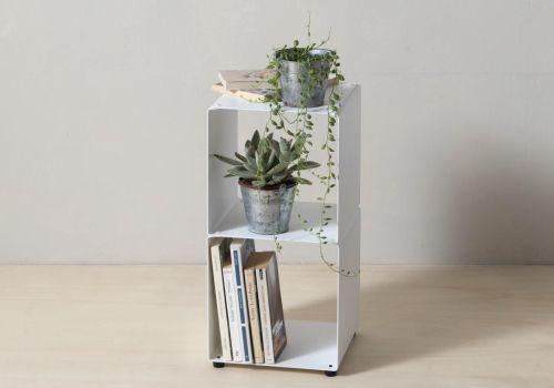 Libreria arredamento 60 cm - metallo bianco - 2 livelli